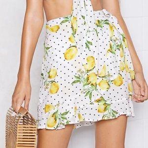 NWT nasty gal lemon print wrap skirt